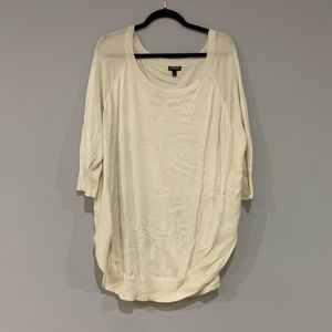 Express White Crew Neck Circle Hem Sweater